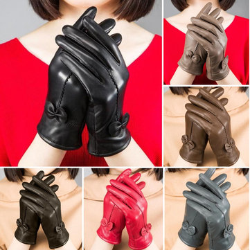 Women Ladies Genuine Lambskin Sheepskin Leather Gloves Driving Velvet Lining Windproof Mittens