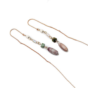 Trendy Beads Alloy Long Pendant Earrings Sweet Simple Style Women Earrings Jewelry