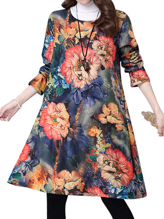 Vintage Floral Printing Long Sleeve Loose Plus Velvet Thick Dress
