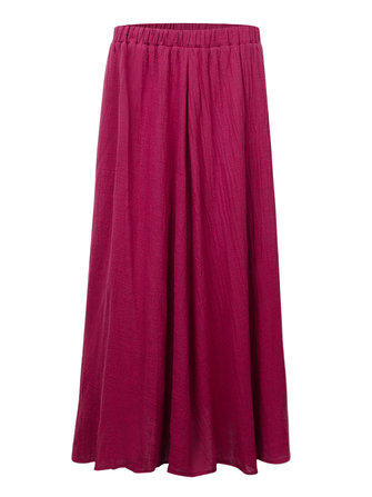 Vintage Pure Color Elastic Waist Swing Skirt Women Pleated A-line Skirt