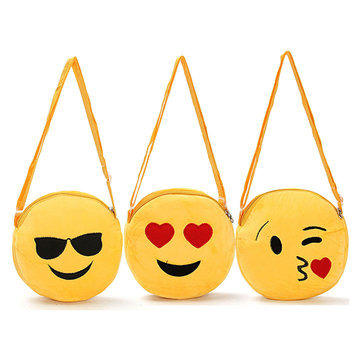Cute Women Girl Mini Emoji Coin Purse Case Plush Bag Shoulder Bag Messenger Bag