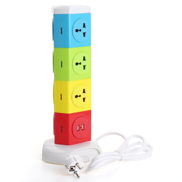 Alardor Four Tiers Rotating Socket Patch Panel USB Plug Board Surge Protection Power Strip