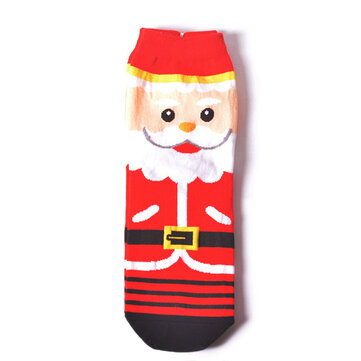Womens Warm Christmas Short Socks Cartoon Elk Santa Low Cut Ankle Christmas Socks