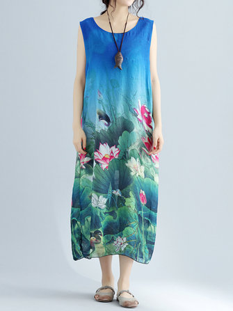 Lotus Printed Midi Dress
