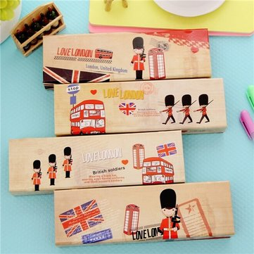 Cute Soldier Pen Case School Pencil Paper Makeup Pouch bag Students Box Vintage
