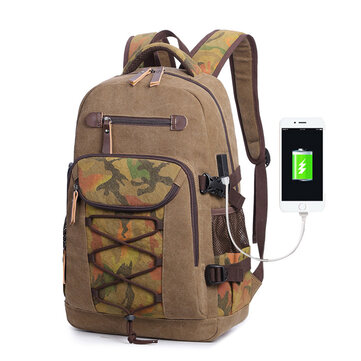 Canvas Travel Bag Designer Large Capacity Casual Backpack with USB Charging Port