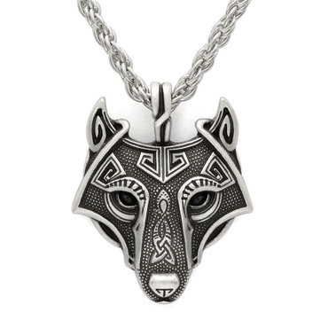 Vintage Celtic Wolf Head Necklace Viking Amulet Pendant Ornaments for Men