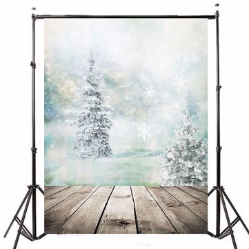 5x7ft Christmas Tree Snow White Ice Theme Photography Vinyl Background Backdrop for Studio 1.5x2.1m
