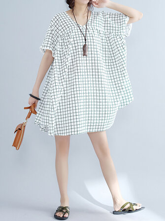 Casual Women Plaid Dress O-Neck Short Sleeve Cotton Linen Dresses
