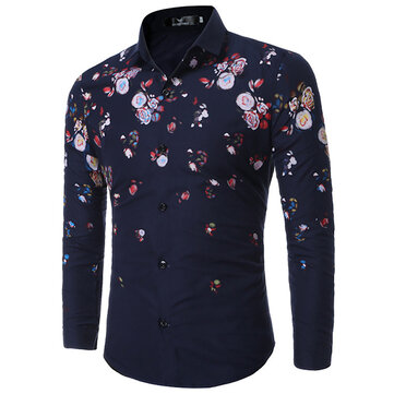 Casual Flowers Printing Slim Band Collar Designer Shirts for Men