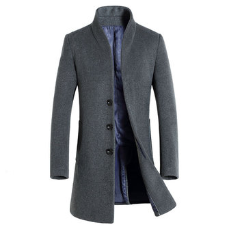Mens Wool Mid-long Business Casual Trench Coat Autumn Winter Slim Fit Jacket