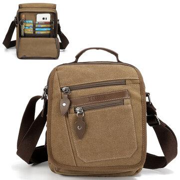 Ekphero Men Retro Genuine Leather 6 Inch Phone Bag Waist Bag Shoulder Crossbody Bag