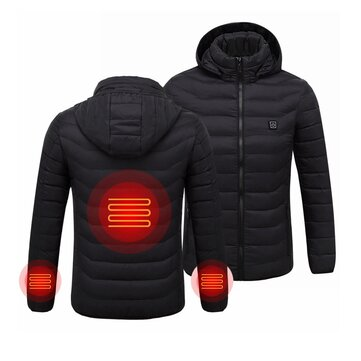 Mens Women USB Heated Warm Back Hand Wrist Hooded Winter Jacket Motorcycle Skiing Riding Coat