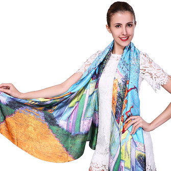 Women Soft Printing Satin Silk Scarves Outdoor Summer Sunscreen Beach Shawl Towel