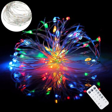 ARILUX Battery Powered 8 Mode 5M 10M RGBWYP Colorful LED Holiday String Light with IR Remote Control