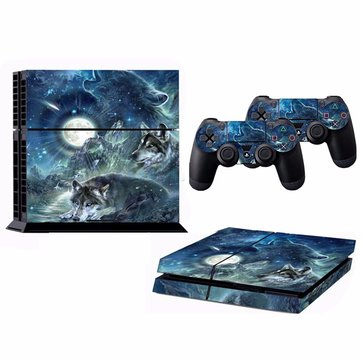 Moon Wolf Skin Sticker for PS4 Play Station 4 Console with 2 Controller Protector Skin