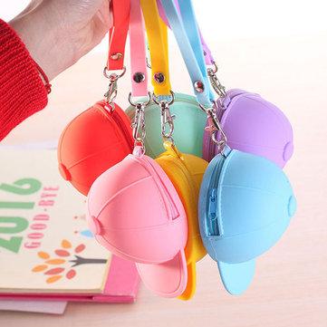 Honana HN-B2 الإبداعية لطيف سيليكون محفظة لون الحلوى مفتاح حقيبة البيسبول كاب قبعة عملة حقيبة منظم