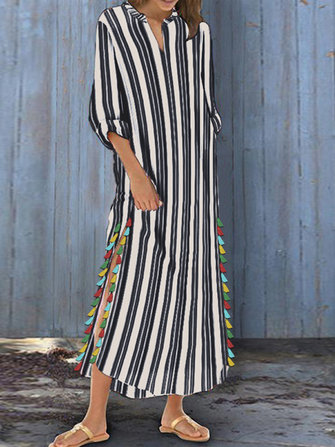 Women Striped Boho Side Slit Tassel Baggy Loose Kaftan Maxi Dress