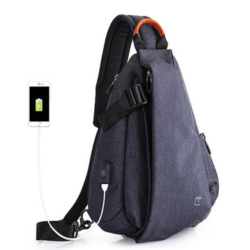 Men USB Charging Port Fashion Anti Theft Crossbody Chest Bag