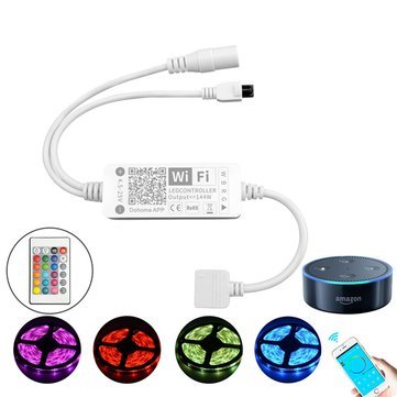 DC5-25V 144W 5Pin Smart APP WiFi RGBW LED Strip Light Controller Work With Alexa Google Assistant