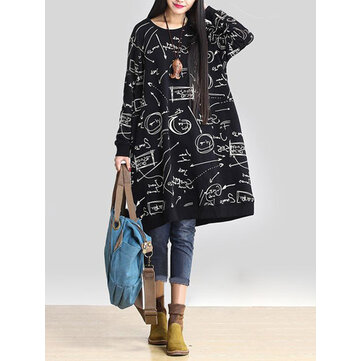 Plus Size Vintage Art Print Crew Neck Long Sleeve Sweatshirt