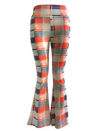 Casual multi-color impresso stretch cintura mulheres flare calças