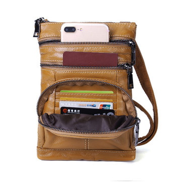 Ekphero Women Genuine Leather Multi Pocket Card Holder Crossbody Bag Passport Bag