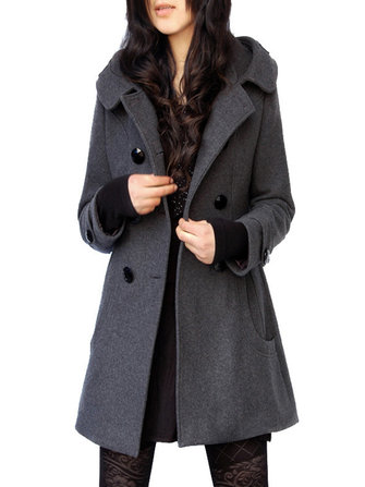 Casual Women Hooded Woolen Coat
