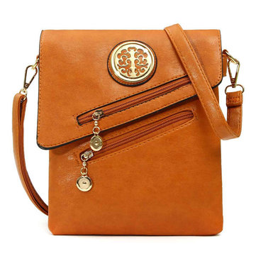 Women Vintage PU Leather Shoulder Bags Sied-Zip Crossbody Bags Messenger Bags