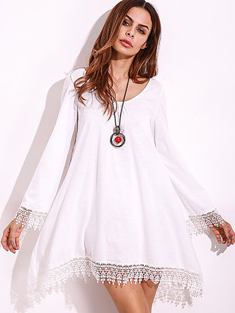 Plus Size Sexy Women Lace Tassels Crochet Mini Dress
