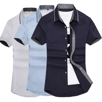 Mens Fashion Contrast Color Collar Slim Fit Solid Color Personality Casual Dress Shirt
