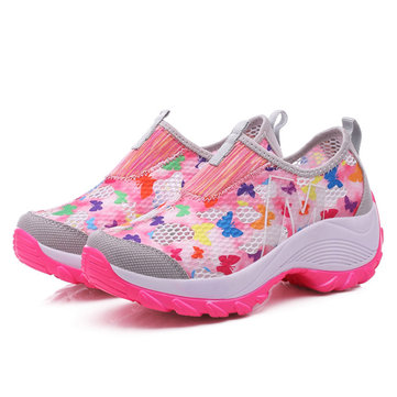 Mesh Platform Sole Rocker Breathable Casual Sports Shoes