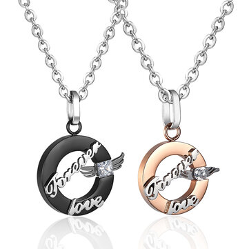 Sweet 1 Pair Stainless Steel Chain Pendant Forever Love Wings Necklaces for Couples