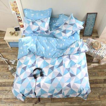 3 o 4 pezzi tuta blu modello geometrico di tintura reattiva fibra di poliestere set di biancheria da letto twin full queen size
