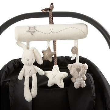 Soft Plush Rabbit Bear Stroller Doll Rattle Kids Mobile Hanging Bed Bell Toddler Car Stroller