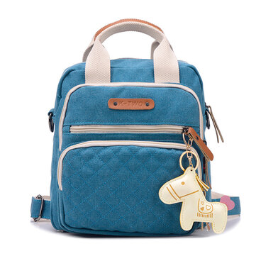 Women Vintage Canvas Handbag Casual Backpack Cute Horse Shoulder Bags