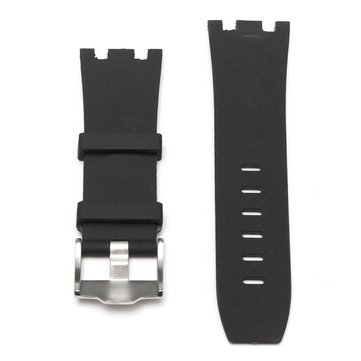 28mm Black Rubber Watch Strap Band With Silver Buckle
