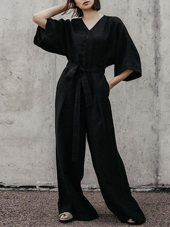 M-5XL Brief V-neck 3/4 Sleeve Back Button Black Jumpsuit