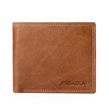 JINBAOLAI الرجال جلد طبيعي الحد الأدنى خمر قصيرة محفظة الترفيه الأعمال مولتيكارد حامل البطاقة