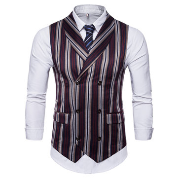 Fashion Business Stripe Printing Waistcoat Suit Vest for Men