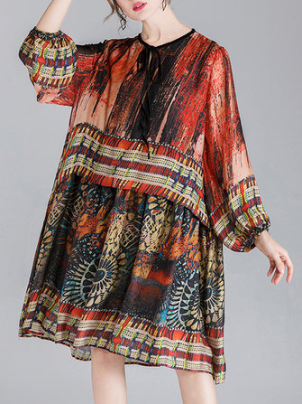 Plus Size Elegant Print Puff Sleeve Loose Women Dress