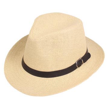 Men Summer Outdoor Solid Color Sunshade Straw Hat