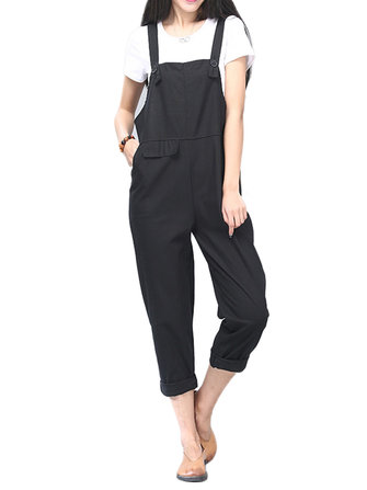 O-NEWE M-5XL Casual Women Pockets Strap Jumpsuit