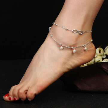 Fashion Infinity Knot Multilayer Women's Anklet Bead Pearl Ankle Bracelets Rings for Women