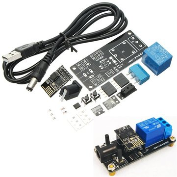 DIY DC 5V One Channel WiFi Relay Module Kit Smart Home Cellphone WiFi Wireless Remote Control Switch APP With Wireless Control Access Control Door Lock And Computer Boot Function Delay Time Can Be Set