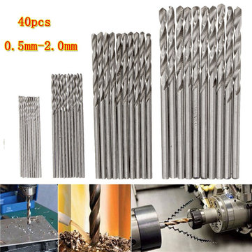 40pcs 0.5/0.8/1.5/2mm HSS Micro Twist Drill Bits Straight Shank PCB Drill