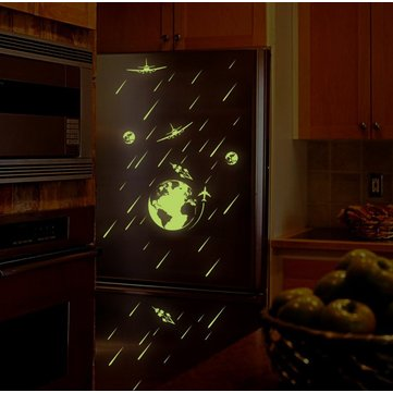 Miico Creative Meteor Shower Planets Luminous PVC Removable Home Room Decorative Wall Switch Decor Sticker
