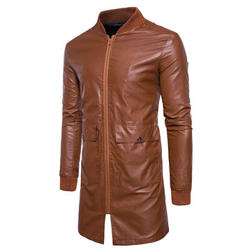 Mens Mid-long Faux Leather Baseball Collar Jacket Fit Coat