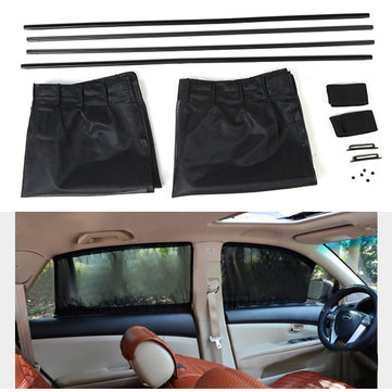 70*47cm Mesh Fabric Car Window Curtain Sunshade Set