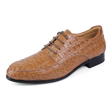 Large Size Men Lace Up Leather Pointed Toe Formal Shoes